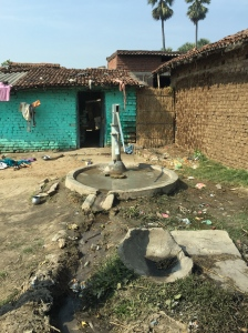 A village well.  If you look closely you see a bottle of soapy water tied to the well to make it convenient to wash hands.  This innovation was brought to the village by Dr. Arthur Goshin, a Freedom from Hunger trustee, through his personal foundation.