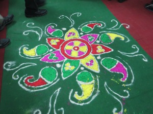 This chalk drawing decorated the entry where we were greeted at Nidan's offices, Patna.