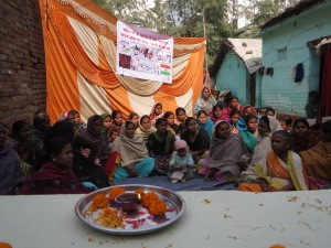 In the Patna slum we were greeted by a grouping of the very small--5 women--savings and education groups.