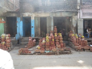 We saw many roadside vendors of clay vessels.