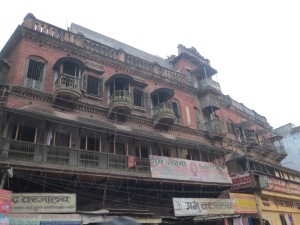 Ornate old buildings in Varanasi--a few hundred years old only, because the Mughals destroyed pretty much everything.