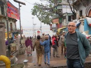 Our first view of the Ganges in Varanasi/Benares.