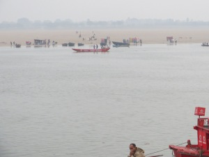 A view from Varanasi across the Ganges.  There is a sandy edge of a km or more on that side--undeveloped because it doesn't take much of a flood to cover it.