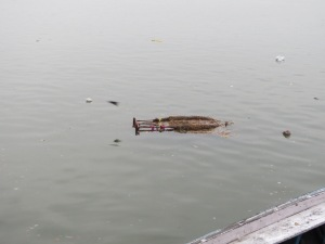 Remains of a Saraswathi statue, a bit forlorn floating alone.