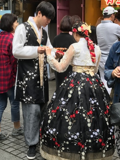 Young couple in matching hanbok