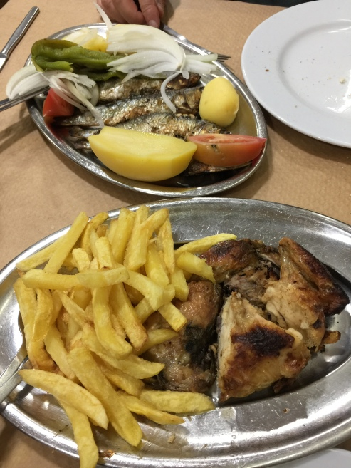 "Our ""half"" orders of sardines and grilled chicken"